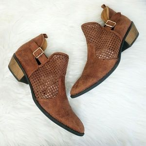 Qupid Faux Suede Laser Cut Brown Ankle Booties